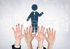 Hands waving open and man icon waving
