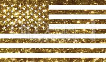 Luxury golden glitter United States country flag icon