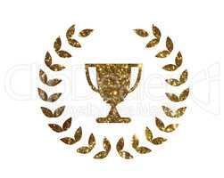 Vector golden glitter award prize cup