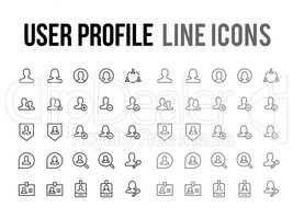User profile vector line icon for app, mobile website responsive