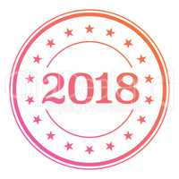 2018 gradient circle seal badge with star border icon