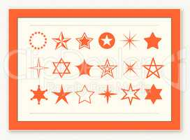 Star shape icons design element set