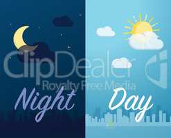 Day and night mode cityscape background and component vector