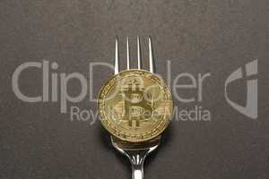 Bitcoin Fork Concept Dark Gray Background