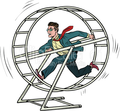 businessman in a squirrel wheel