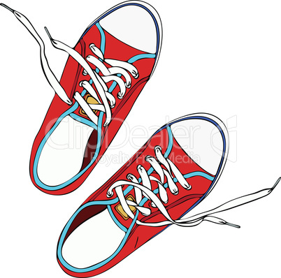 pair of red trampled old shoe with laces untied white, top view, drawn by hand