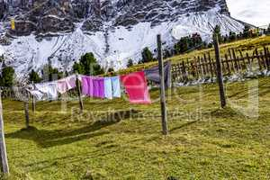 Washed cloths hanging on the clothesline