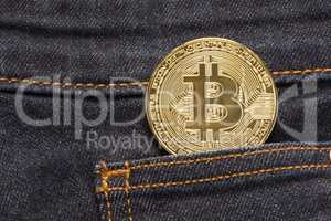 Bitcoin Physical Coin In Denim Pocket