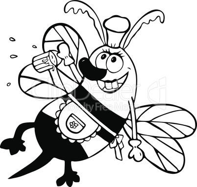 cheerful cartoon bee with a full bucket of honey