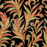 Floral seamless pattern with flowers and leaves over black backgound