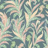 Floral seamless pattern with flowers and leaves. Ornamental orient floral background