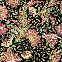 Flower tile pattern Oriental floral background