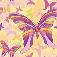 Butterfly seamless pattern. Summer holiday tropical background