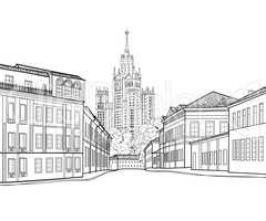 Moscow city street famous building. Travel Russia background