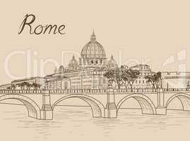 Rome cityscape with St. Peter's Basilica. Italian city famous la