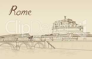 Rome cityscape with Castel Sant'Angelo. Italian city famous landndmark