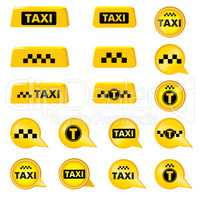 Taxi header signs. Taxi icon set. Call taxi pointer and logos collection.