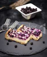 pie of cottage cheese and blueberries
