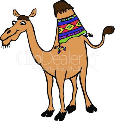 yellow funny camel with one hump, cartoon character