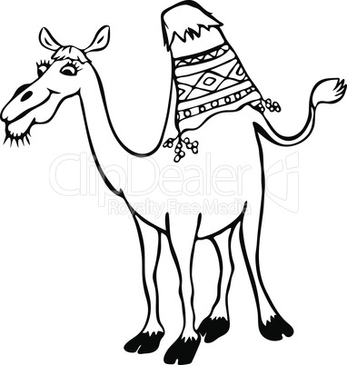 funny camel with one hump, cartoon character