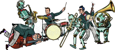 futuristic jazz orchestra of humans and robots, isolated on white background