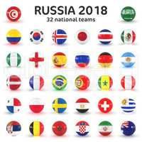 3d render - Russia 2018 - 32 footballs with national flags