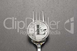 Litecoin Fork Concept Dark Gray Background