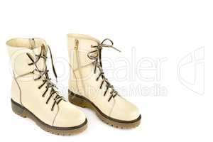 Ladies boots isolated on white background. Free space for text.
