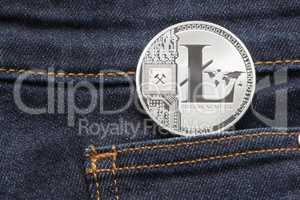 Litecoin Physical Coin In Denim Pocket