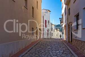 Street detail in a small village Calella de Palafrugell (Costa Brava, Spain)