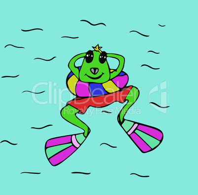 green frog in flippers floating in the sea, top view