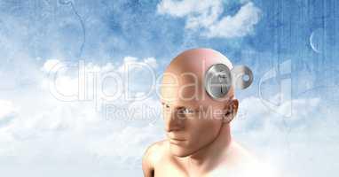 Key unlocking the surreal imagination of 3D mans head
