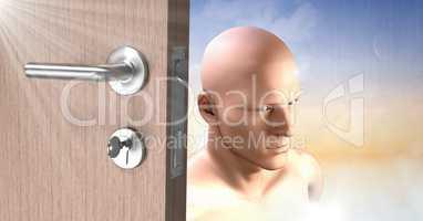 Door Key unlocking the surreal imagination of mans head