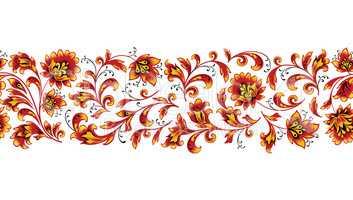 Floral seamless pattern design element. Flower border ornament.
