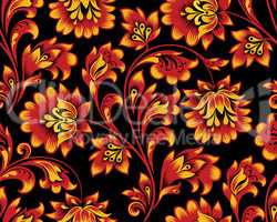 Floral seamless pattern. Flower background. Ornamental russian ethnic style