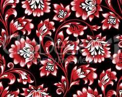 Floral seamless pattern. Flower swirl background. Ornamental brocade retro painting