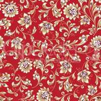 Floral seamless pattern. Flower swirl background. brocade retro style