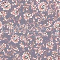 Floral seamless pattern. Flower swirl background. Ornamental brocade easten painting