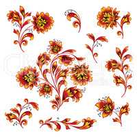 Floral pattern design element set. Ornamental flowers Russian style collection.