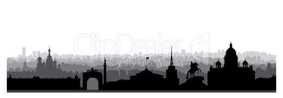 St. Petersburg city skyline, Russia. Tourist landmark silhouette