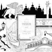 Venice city background. Tourist landmarks gondola and venetian carnival mask