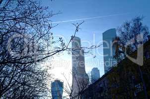 skyscrapers of Moscow city in November morning
