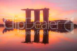 Marina Bay and Sand SkyPark at Dawn
