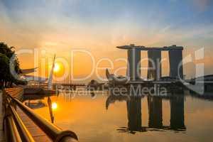 Marina Bay and Sands SkyPark at Morning