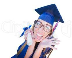 Goofy Graduating Young Girl In Cap and Gown Isolated on a White