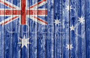 National flag of Australia on old wood background