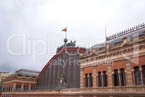 Exterior view of the facade of Atocha train station in Madrid, Spain