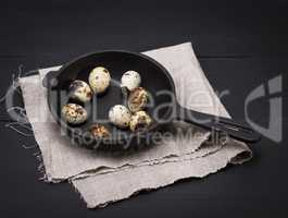 quail eggs in the shell lie in a black cast-iron frying pan
