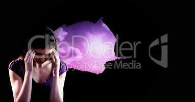 Stressed upset woman through purple light hole opening