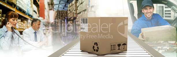 Composite image of packed parcel box on conveyor belt